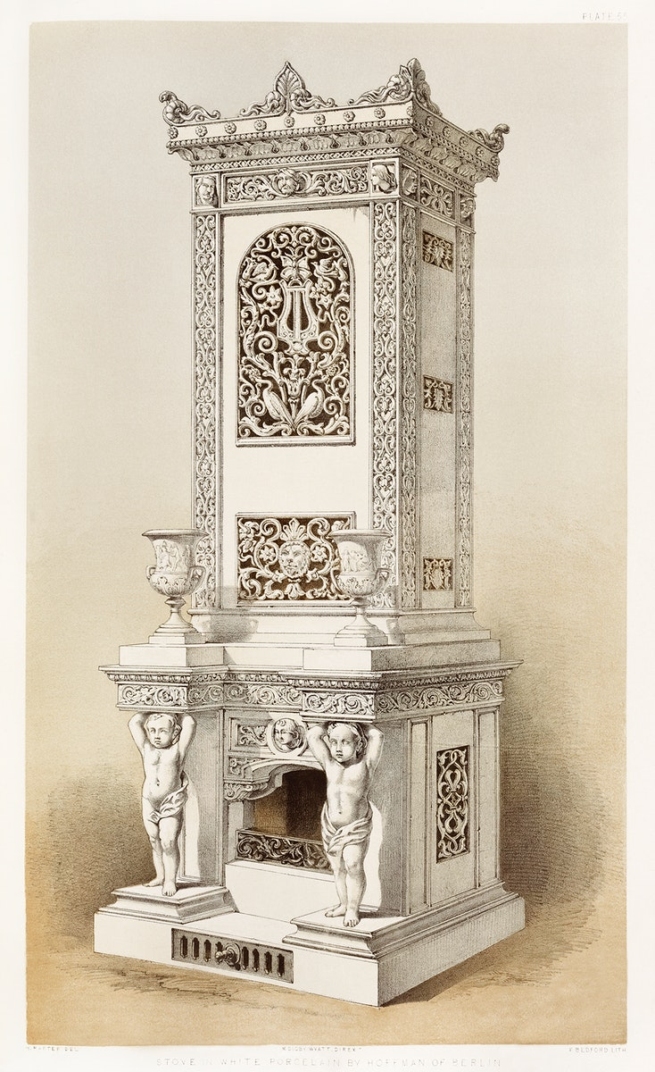 Stove in white porcelain from the Industrial arts of the Nineteenth Century (1851-1853) by Sir Matthew Digby wyatt (1820…