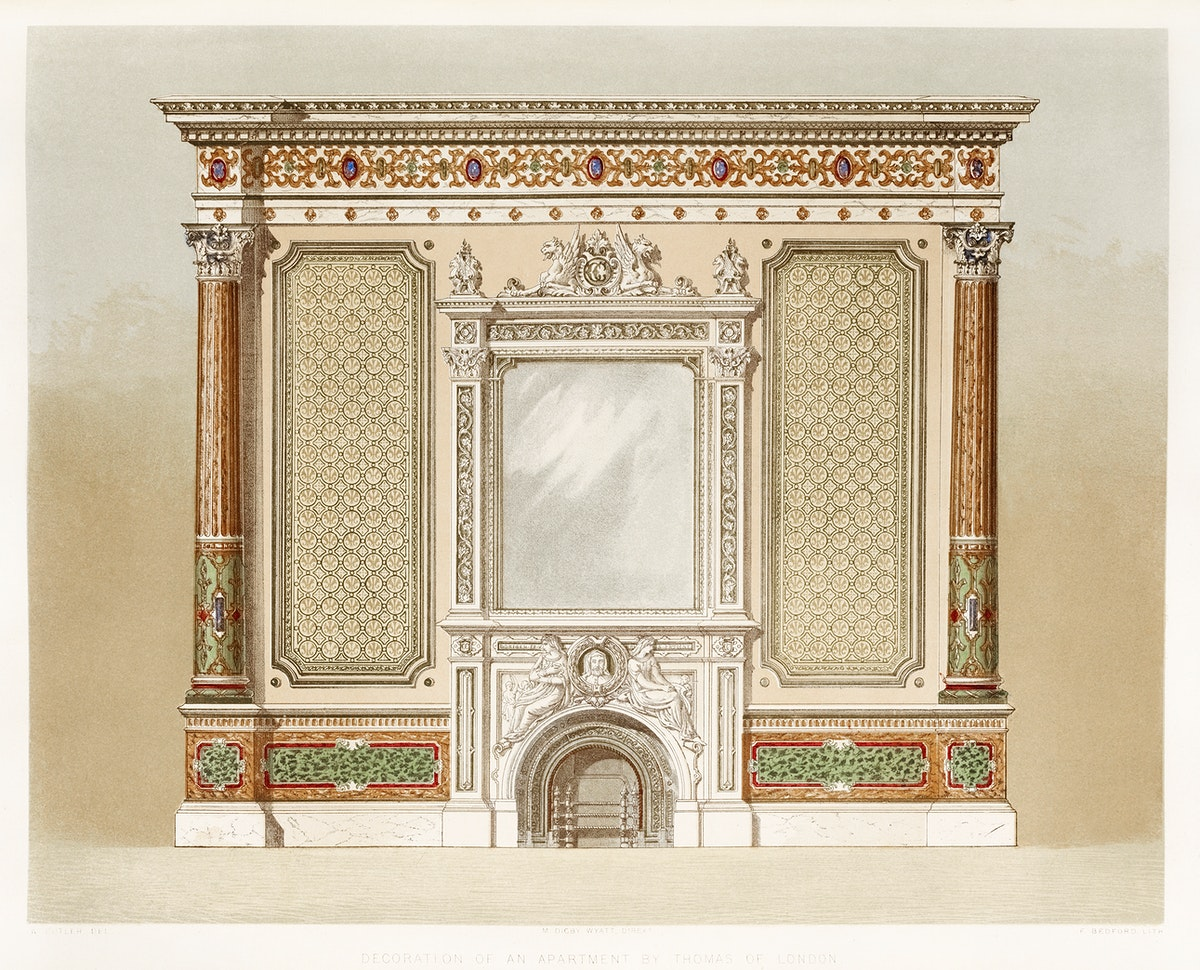 Decoration of an apartment from the Industrial arts of the Nineteenth Century (1851-1853) by Sir Matthew Digby wyatt (1820…