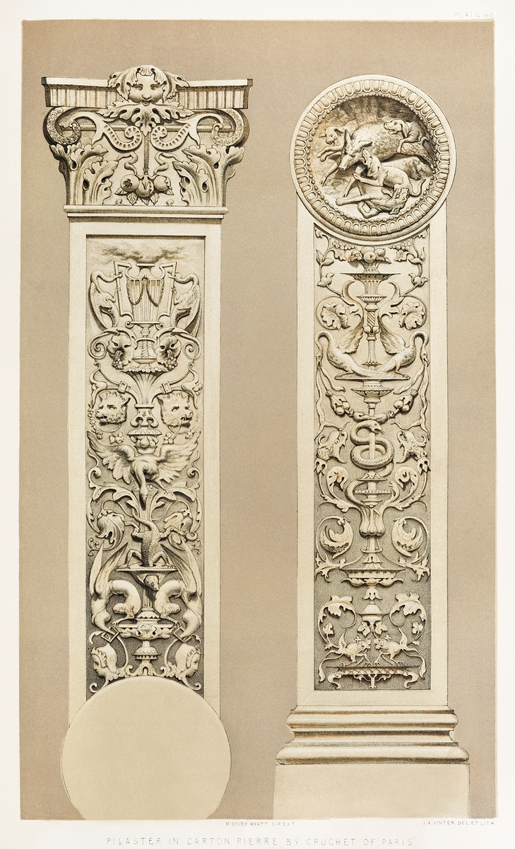Pilaster in carton pierre from the Industrial arts of the Nineteenth Century (1851-1853) by Sir Matthew Digby wyatt (1820…