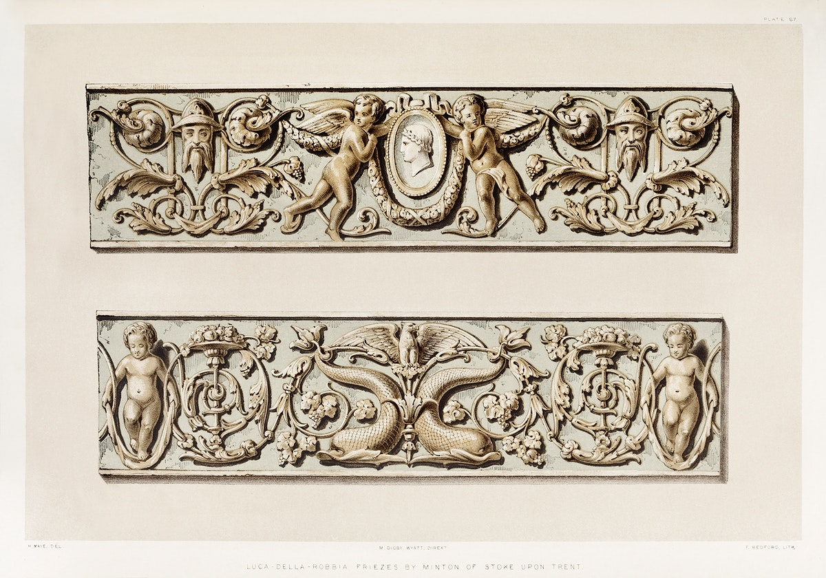 Luca-della-Robbia friezes from the Industrial arts of the Nineteenth Century (1851-1853) by Sir Matthew Digby wyatt (1820…