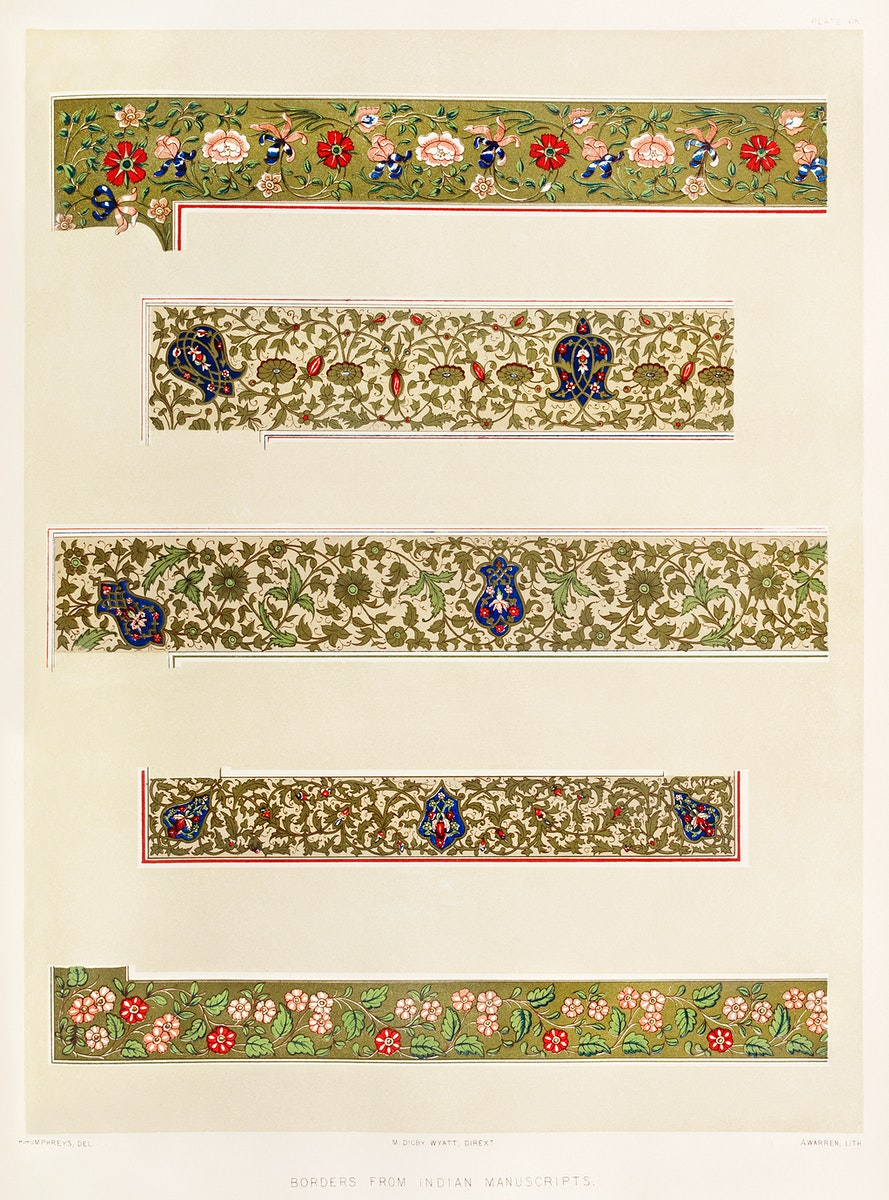Borders from Indian manuscripts from the Industrial arts of the Nineteenth Century (1851-1853) by Sir Matthew Digby wyatt…