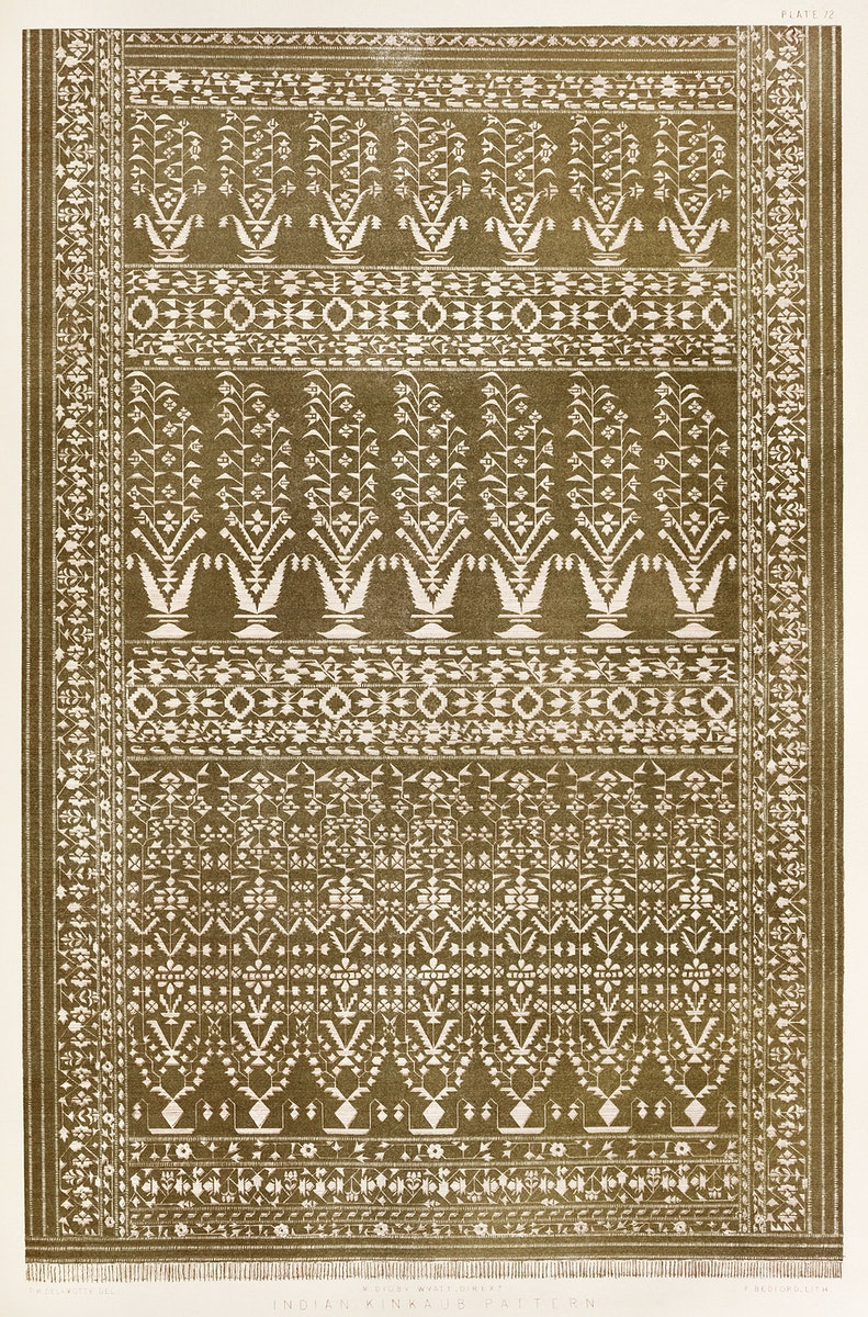Indian kinkaub pattern from the Industrial arts of the Nineteenth Century (1851-1853) by Sir Matthew Digby wyatt (1820-1877).
