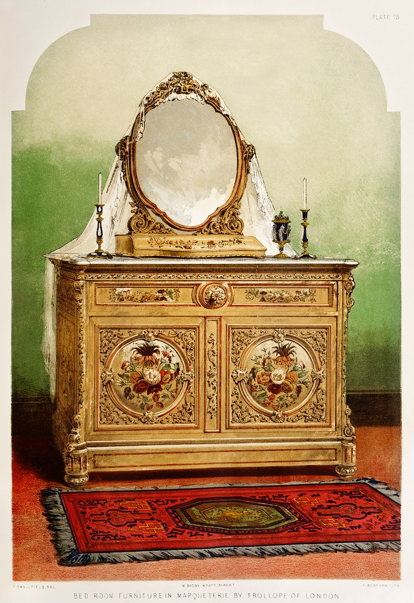 Bed room furniture in marqueterie from the Industrial arts of the Nineteenth Century (1851-1853) by Sir Matthew Digby wyatt…