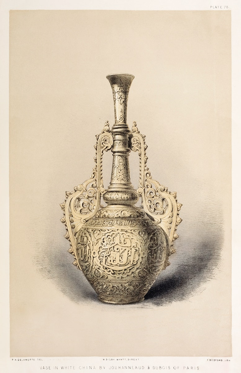 Vase in white china from the Industrial arts of the Nineteenth Century (1851-1853) by Sir Matthew Digby wyatt (1820-1877).