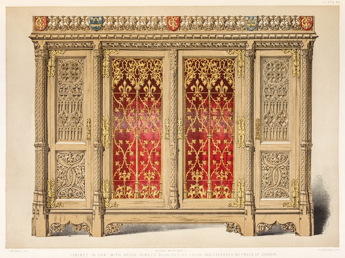 Cabinet in oak with brass panels from the Industrial arts of the Nineteenth Century (1851-1853) by Sir Matthew Digby wyatt…