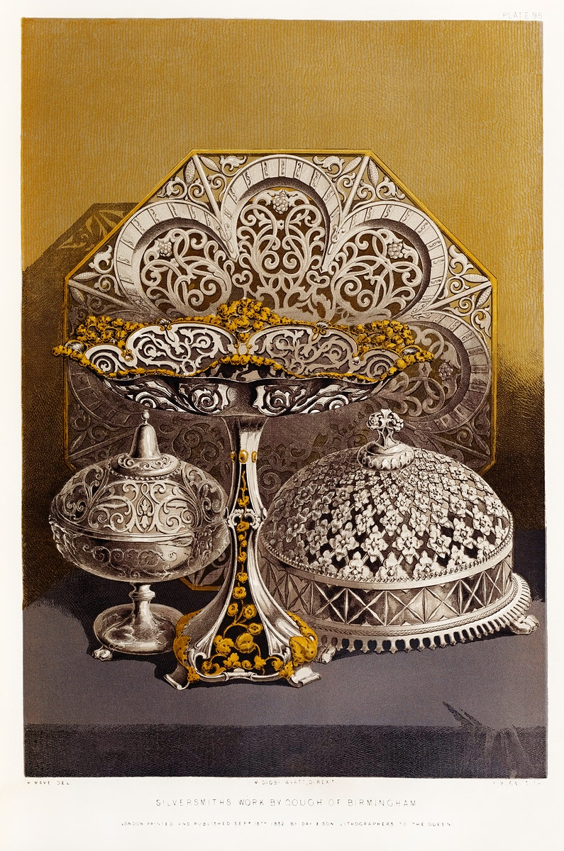 Silversmiths work from the Industrial arts of the Nineteenth Century (1851-1853) by Sir Matthew Digby wyatt (1820-1877).