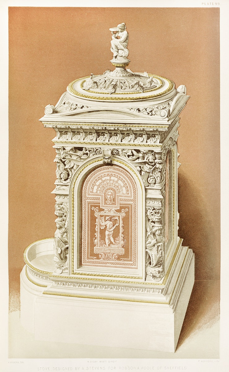 Stove from the Industrial arts of the Nineteenth Century (1851-1853) by Sir Matthew Digby wyatt (1820-1877).