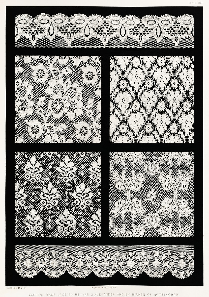 Machine made lace from the Industrial arts of the Nineteenth Century (1851-1853) by Sir Matthew Digby wyatt (1820-1877).