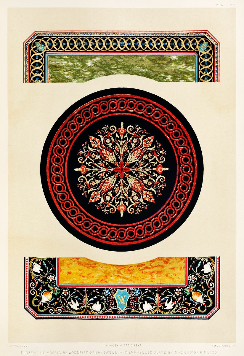Florentine mosaic from the Industrial arts of the Nineteenth Century (1851-1853) by Sir Matthew Digby wyatt (1820-1877).