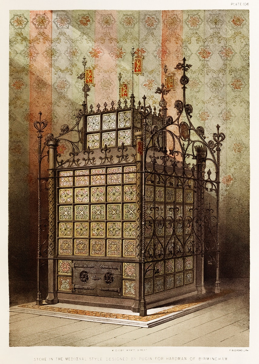 Stove in the medieval style from the Industrial arts of the Nineteenth Century (1851-1853) by Sir Matthew Digby wyatt (1820…