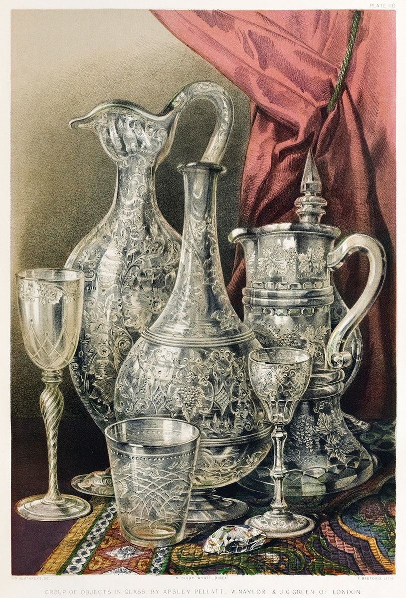 Group of objects in glass from the Industrial arts of the Nineteenth Century (1851-1853) by Sir Matthew Digby wyatt (1820…