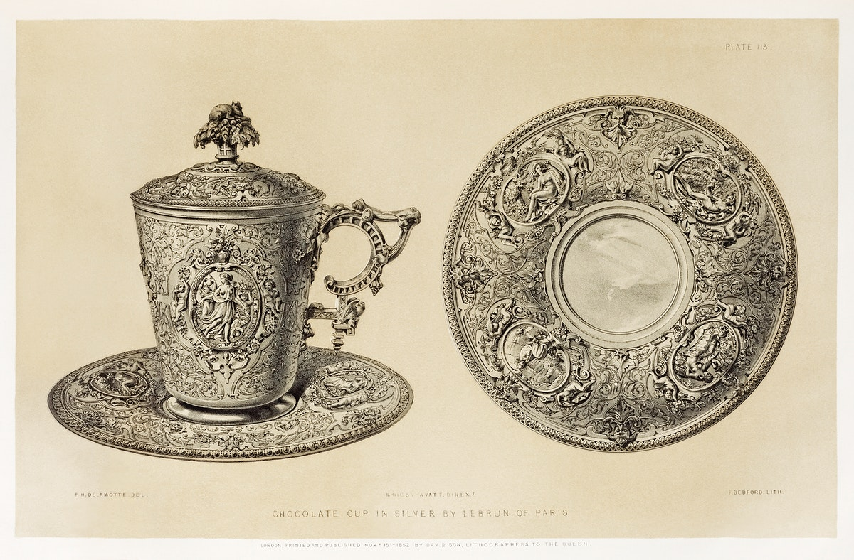 Chocolate cup in silver from the Industrial arts of the Nineteenth Century (1851-1853) by Sir Matthew Digby wyatt (1820…