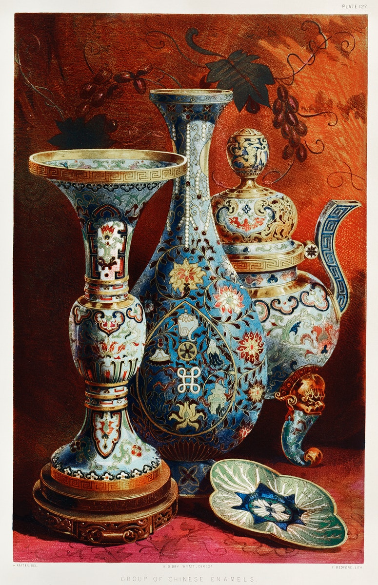 Group of Chinese enamels from the Industrial arts of the Nineteenth Century (1851-1853) by Sir Matthew Digby wyatt (1820…