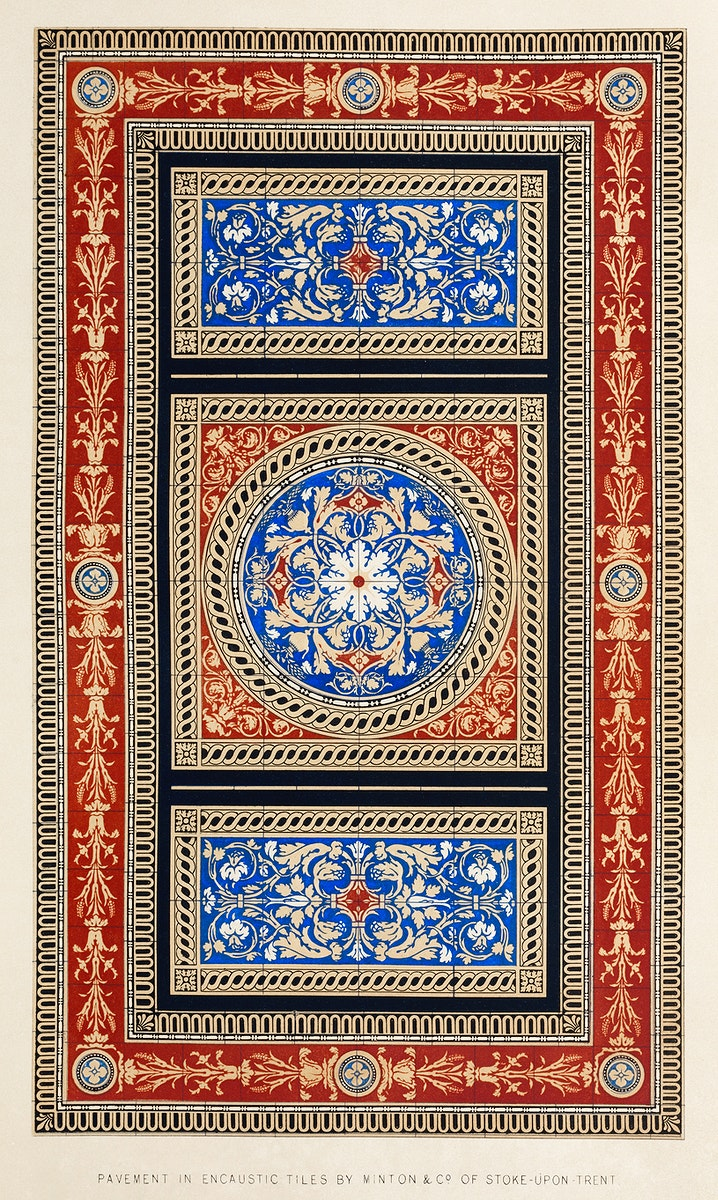 Pavement in encaustic tiles from the Industrial arts of the Nineteenth Century (1851-1853) by Sir Matthew Digby wyatt (1820…
