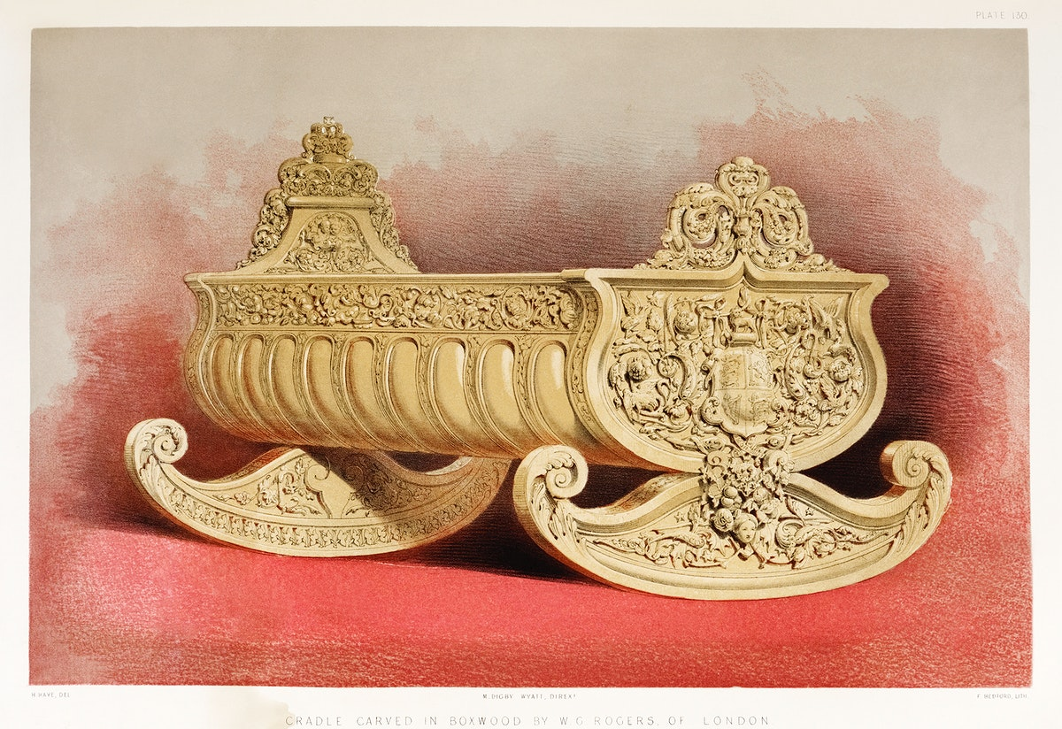 Cradle carved in boxwood from the Industrial arts of the Nineteenth Century (1851-1853) by Sir Matthew Digby wyatt (1820…