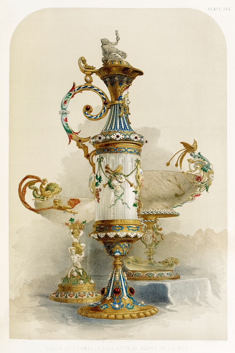 Group of enamelled objects from the Industrial arts of the Nineteenth Century (1851-1853) by Sir Matthew Digby wyatt (1820…
