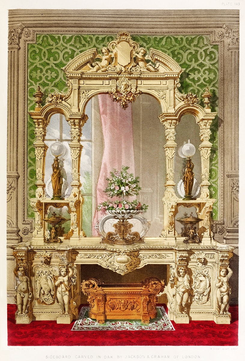 Sideboard carved in oak from the Industrial arts of the Nineteenth Century (1851-1853) by Sir Matthew Digby wyatt (1820…