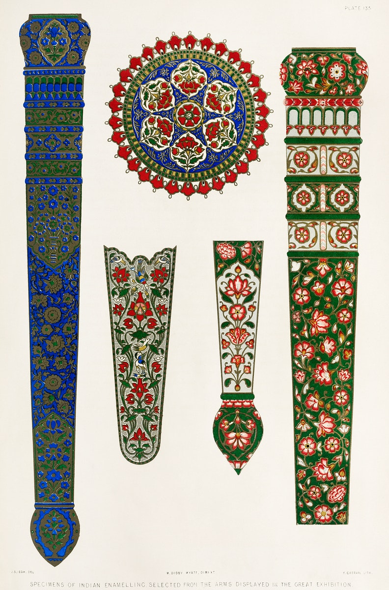 Specimens of Indian enamelling from the Industrial arts of the Nineteenth Century (1851-1853) by Sir Matthew Digby wyatt…