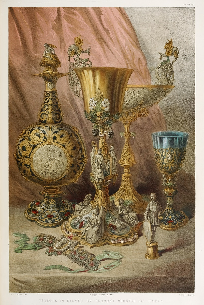Objects in silver from the Industrial arts of the Nineteenth Century (1851-1853) by Sir Matthew Digby wyatt (1820-1877).