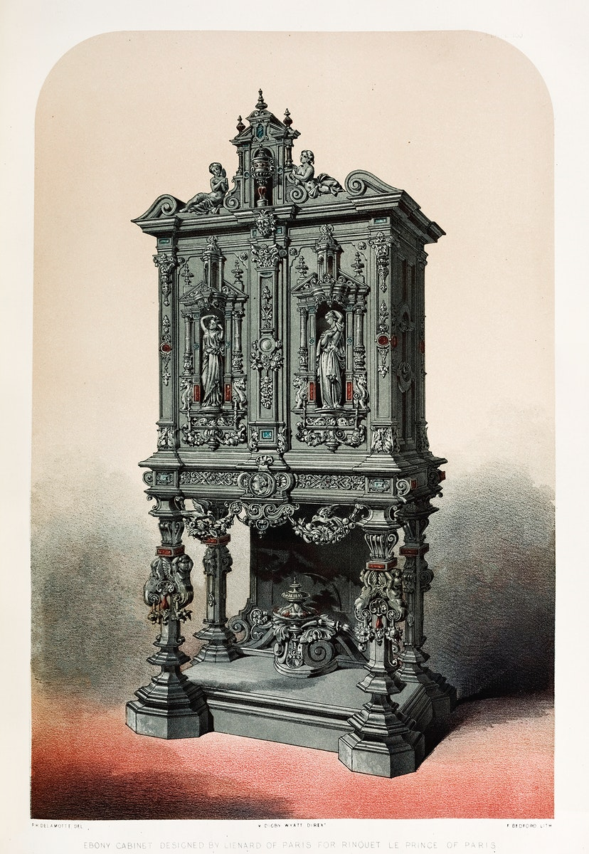 Ebony cabinet from the Industrial arts of the Nineteenth Century (1851-1853) by Sir Matthew Digby wyatt (1820-1877).