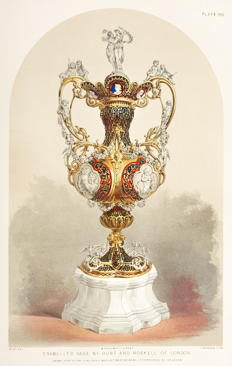 Enamelled vase from the Industrial arts of the Nineteenth Century (1851-1853) by Sir Matthew Digby wyatt (1820-1877).