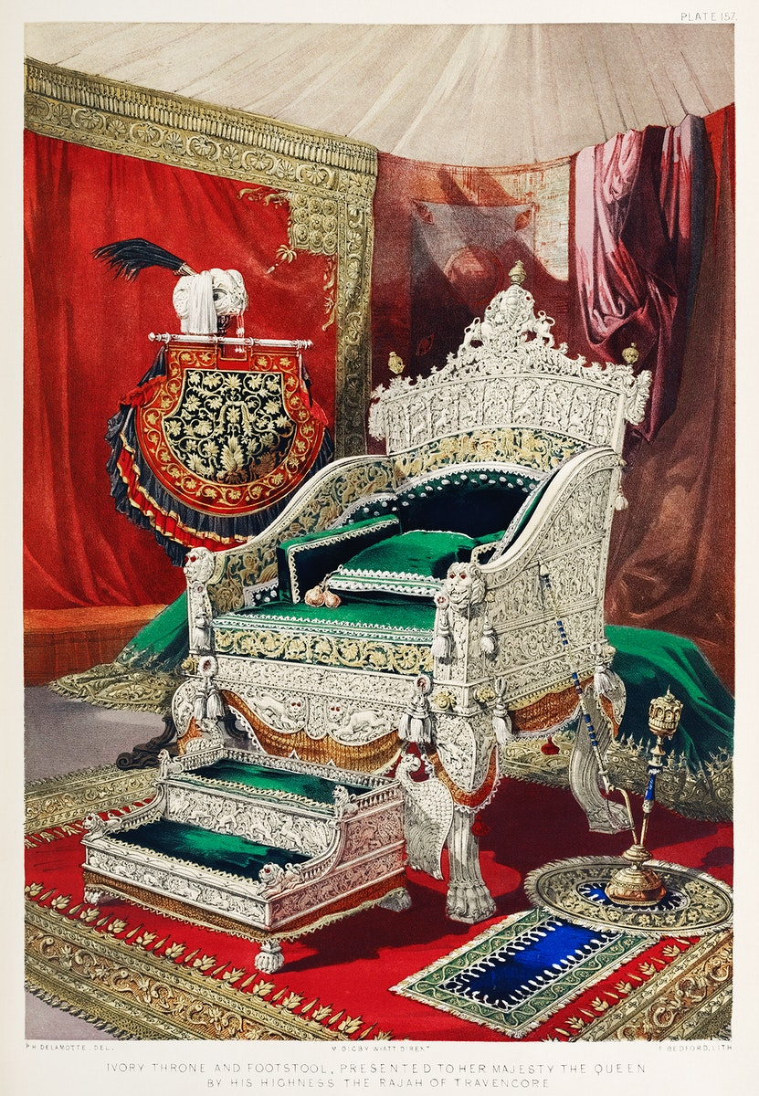 Ivory throne and footstool from the Industrial arts of the Nineteenth Century (1851-1853) by Sir Matthew Digby wyatt (1820…
