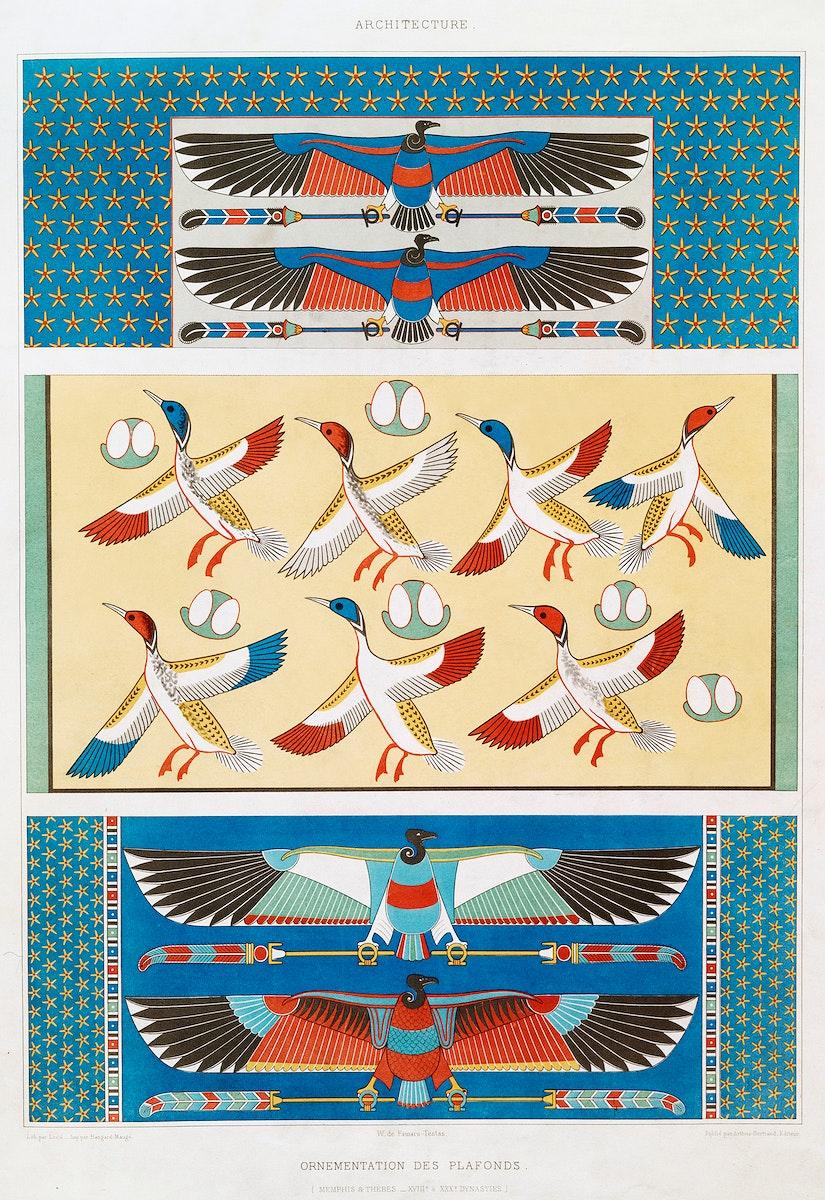 Ceiling Ornamentation (Memphis & Thebes) from Histoire de l'art égyptien (1878) by Émile Prisse d'Avennes.…