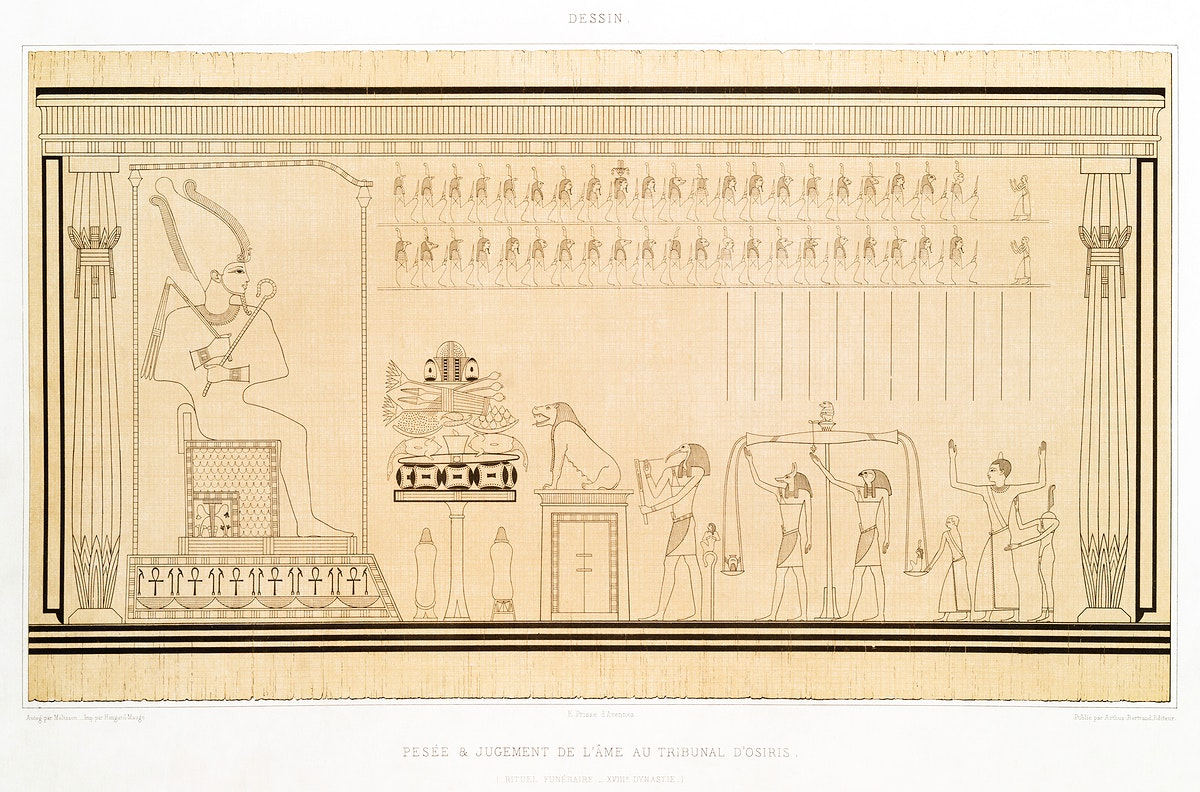 Weighing and judgment of the soul in the court of Osiris from Histoire de l'art égyptien (1878) by Émile Prisse…