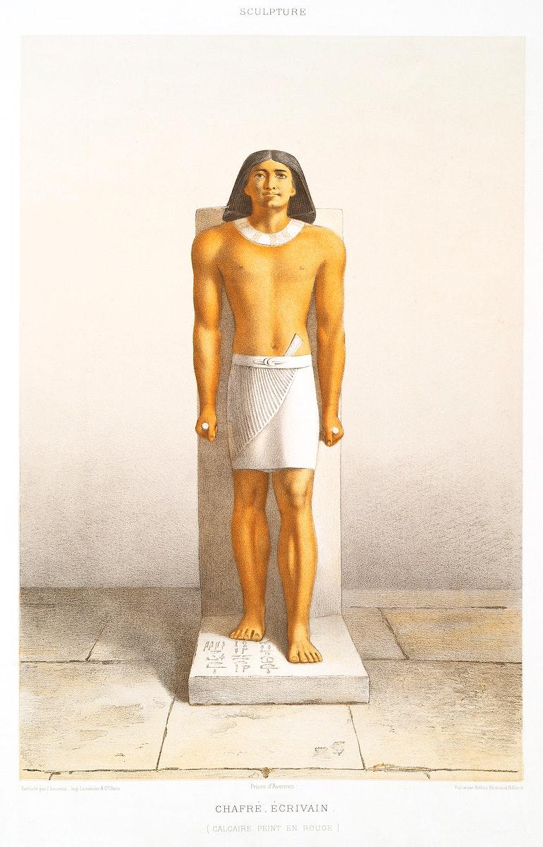 Khafre author from Histoire de l'art égyptien (1878) by Émile Prisse d'Avennes (1807-1879). Digitally enhanced…