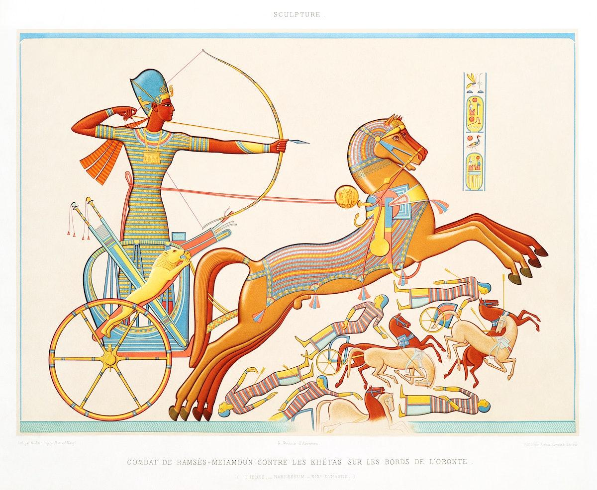 Ramses-Meïamoun fight against Katas on the edge of Orontes from Histoire de l'art égyptien (1878) by Émile…