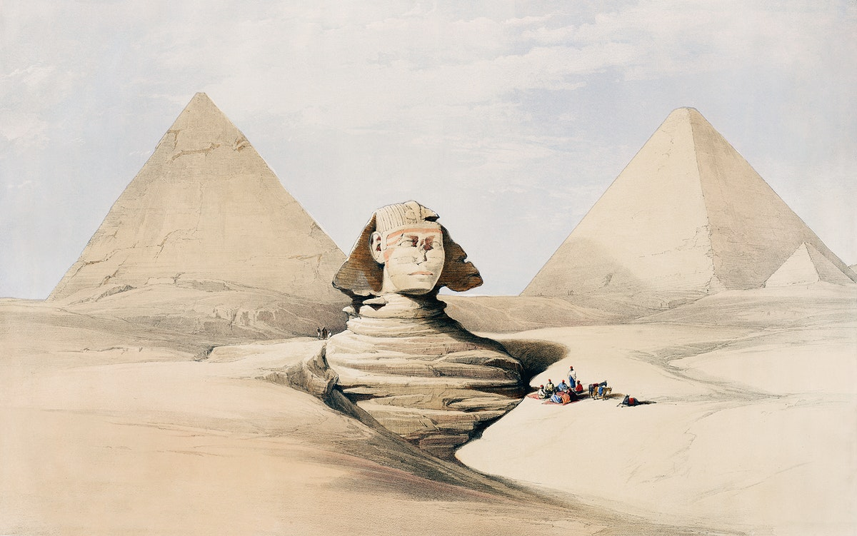 The Great Sphinx Pyramids of Gizeh (Giza) illustration by David Roberts (1796–1864). Original from The New York Public…