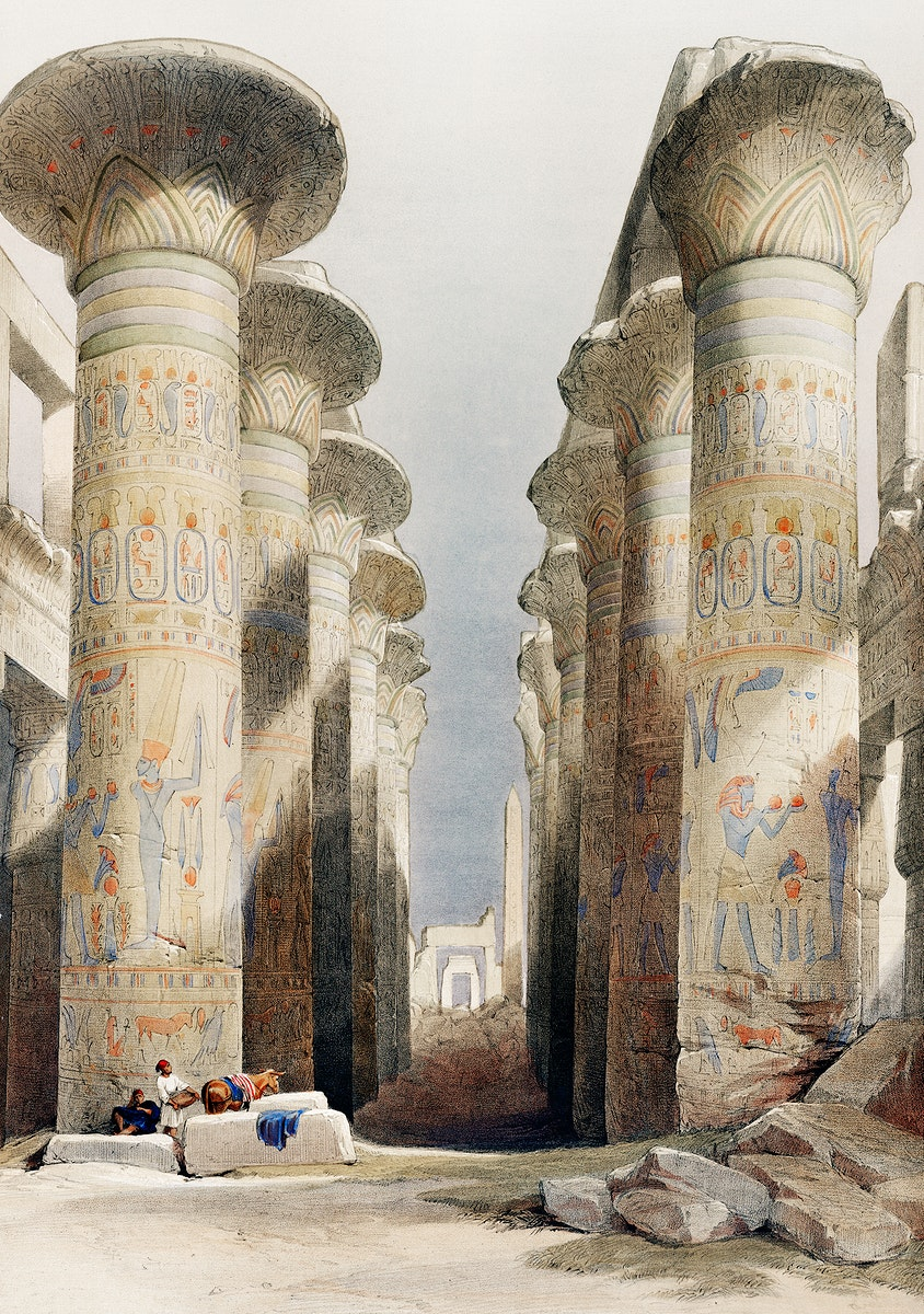Great Hall at Karnak temple in Thebes illustration by David Roberts (1796–1864). Original from The New York Public…