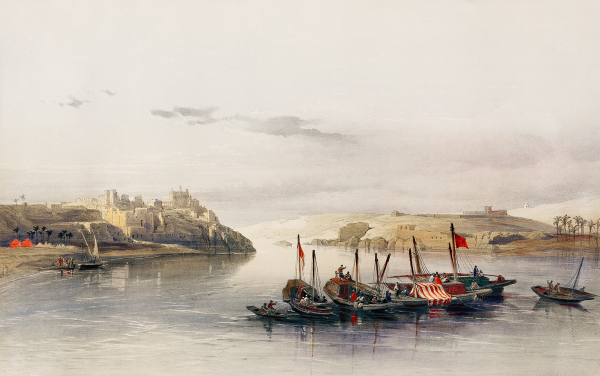 General view of Esouan and the Island of Elephantine illustration by David Roberts (1796–1864). Original from The New…