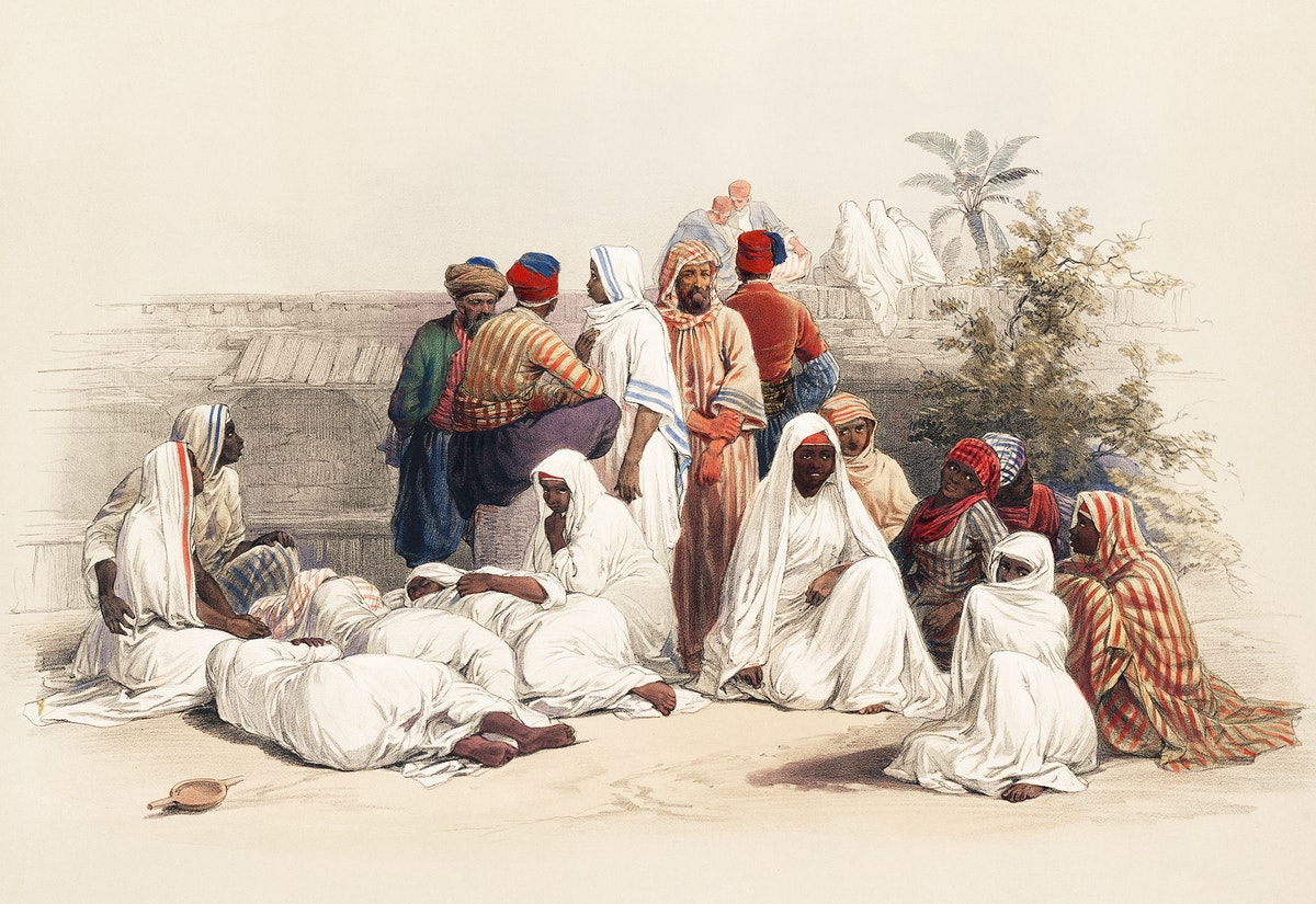 In the slave market at Cairo illustration by David Roberts (1796–1864). Original from The New York Public Library.…