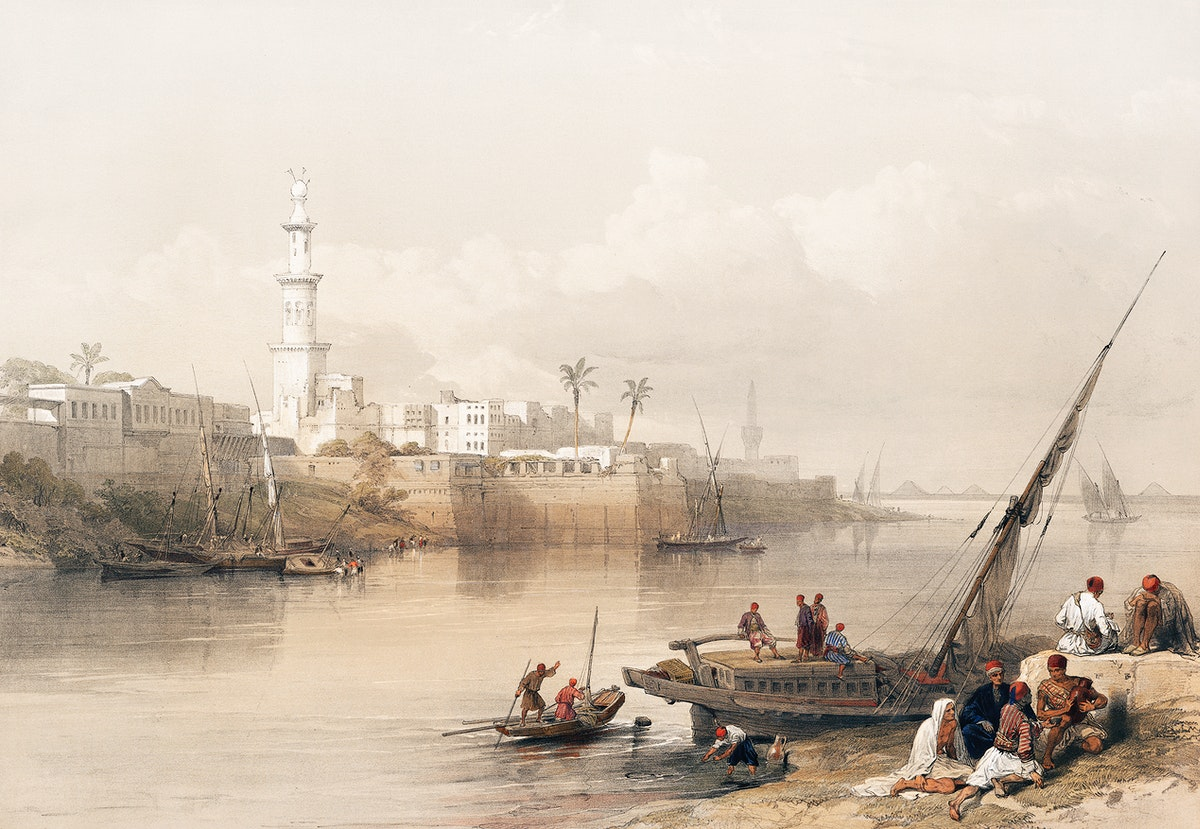 View on the Nile ferry to Gizeh illustration by David Roberts (1796–1864). Original from The New York Public Library.…