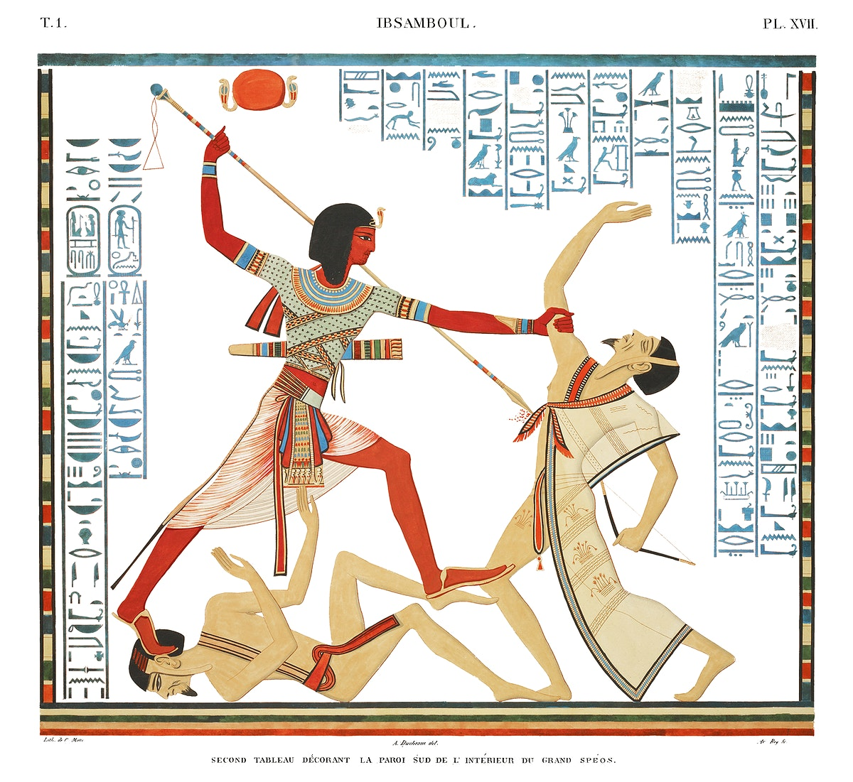 Second painting decorated on south wall in interior of the great speos from Monuments de l'Égypte et de la Nubie…