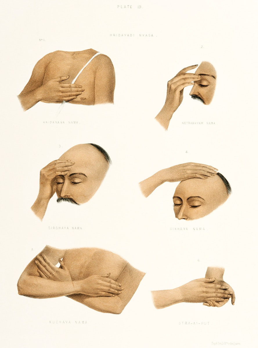 Hand Signs from The Sundhya or the Daily Prayers of the Brahmins (1851) by Sophie Charlotte Belnos (1795–1865).