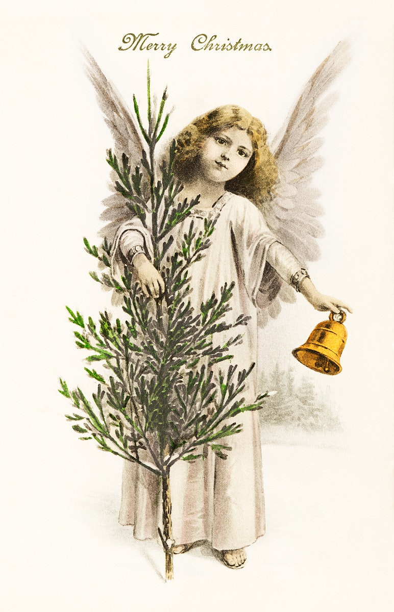 An angel holding a Christmas bell (1912) from The Miriam and Ira D. Wallach Division Of Art, Prints and Photographs: Picture…