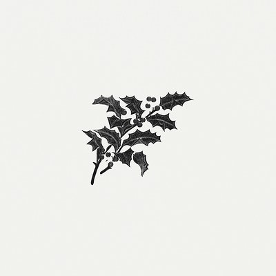 Christmas Holly Silhouette.Download Premium Illustration Of Vintage Common Holly Branch Illustration