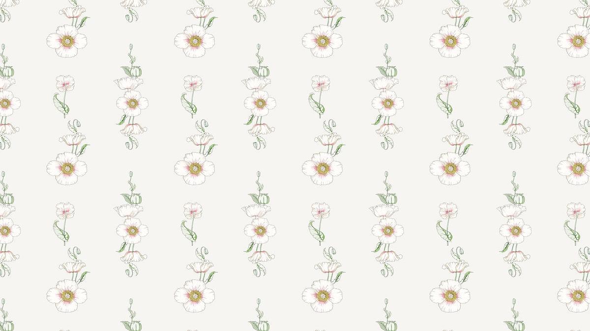 Vintage poppy flower pattern design resource