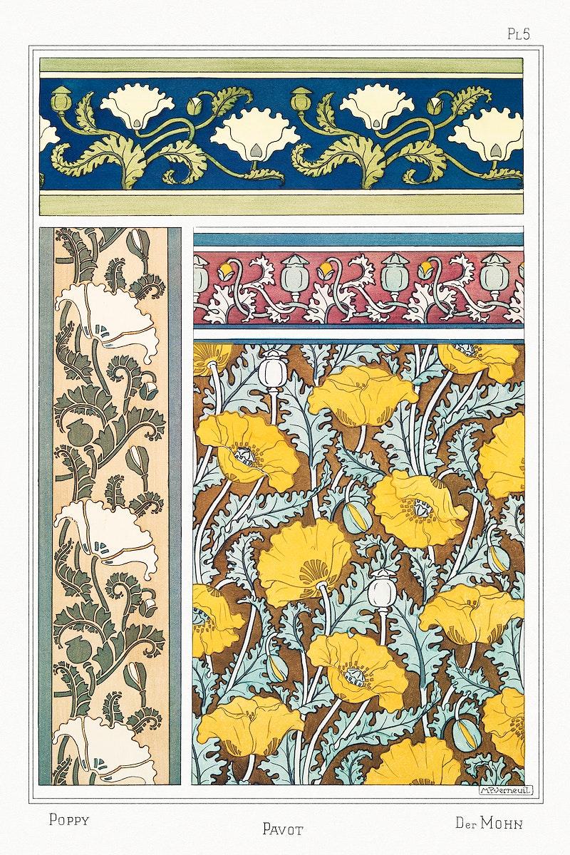 Art nouveau poppy flowerpattern collection design resource