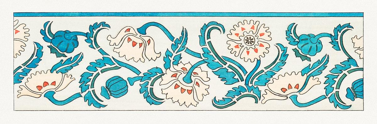 Art nouveau poppy flower pattern design resource