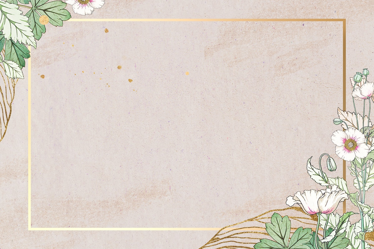 Vintage poppy flower frame design element