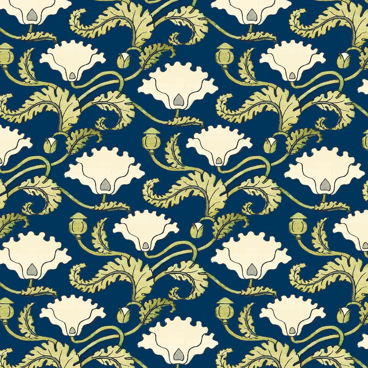 Art nouveau poppy flower vector pattern design resource