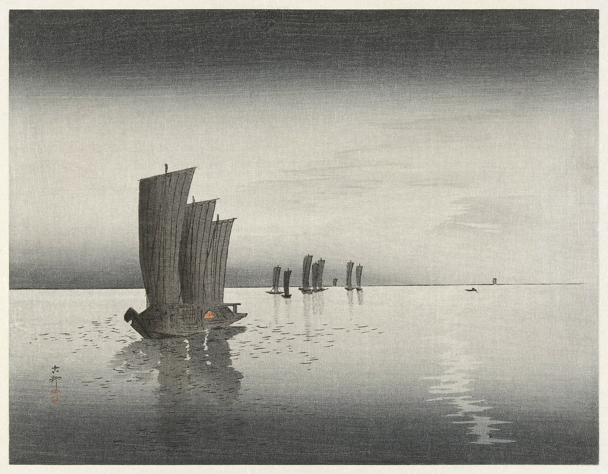 Fishing boats at dusk (1900-1920) by Ohara Koson (1877-1945). Original from The Rijksmuseum. Digitally enhanced by rawpixel.