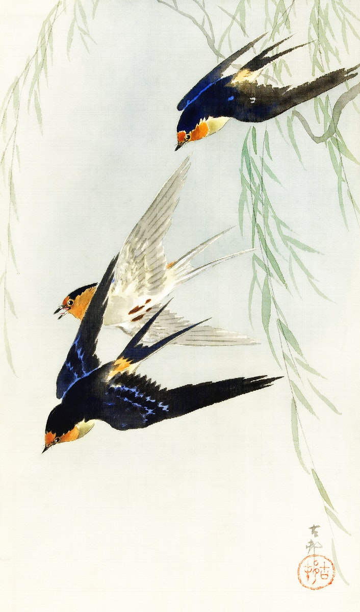 Three birds in full flight by Ohara Koson (1877-1945). Original from The Rijksmuseum. Digitally enhanced by rawpixel.