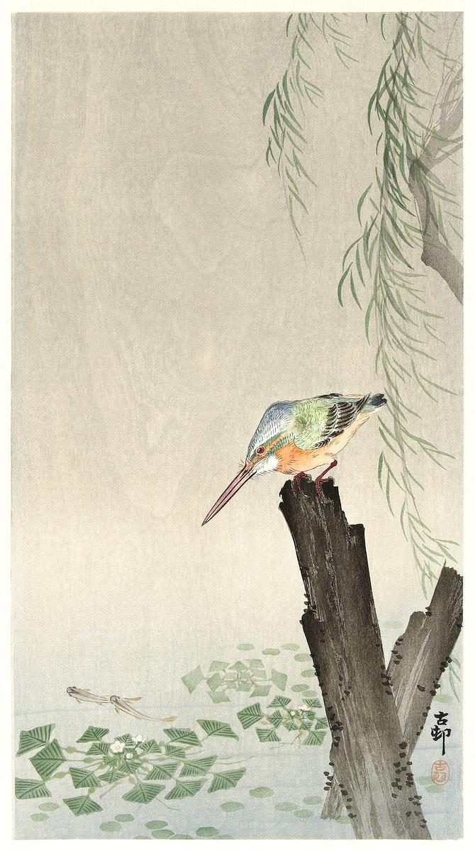 Kingfisher on a tree stump (1900-1936) by Ohara Koson (1877-1945). Original from The Rijksmuseum. Digitally enhanced by…