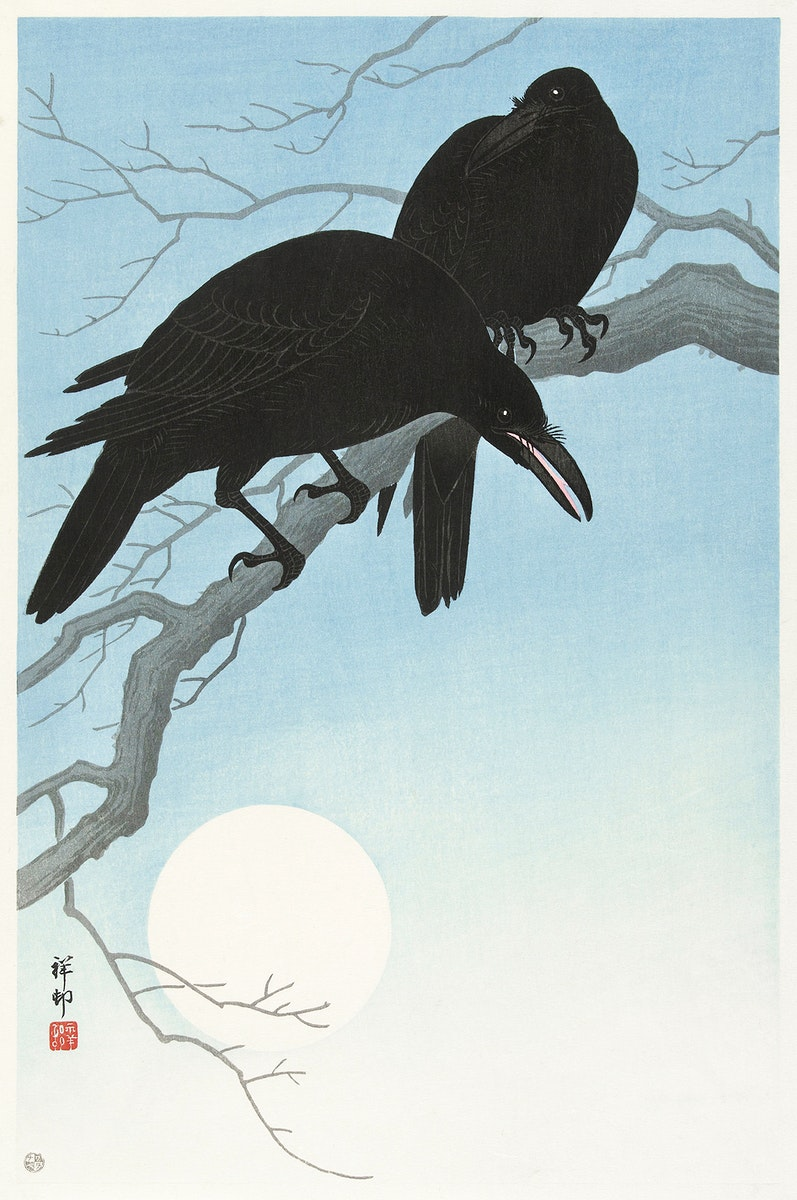 Two crows on a branch (1927) by Ohara Koson (1877-1945). Original from The Rijksmuseum. Digitally enhanced by rawpixel.