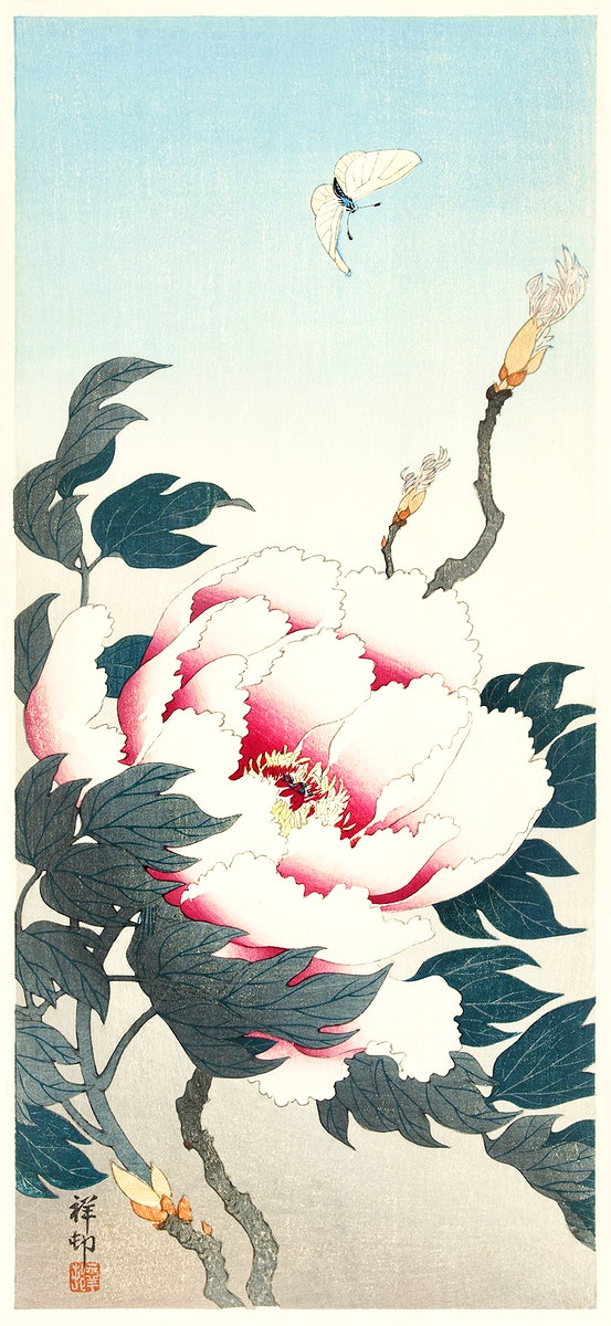 Peony with butterfly (1925 - 1936) by Ohara Koson (1877-1945). Original from The Rijksmuseum. Digitally enhanced by rawpixel.