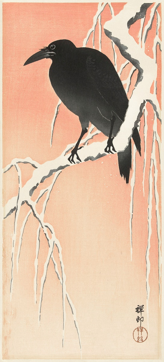 Crow on snowy branch (1900 - 1936) by Ohara Koson (1877-1945). Original from The Rijksmuseum. Digitally enhanced by rawpixel.